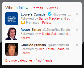 Who to follow twitter suggestions